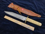 Custom Knife:  Maker; Rudy H. Ruana, Early American Bowie Model 31 B, Approximately 11 in., with sheath