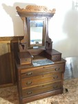 Upstairs: Antique Eastlake Dove Tailed Dresser with Mirror, Walnut, Marble Step Front with Locking Glove Boxes