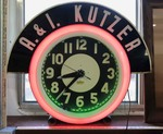 Super Cool Authentic Old Boerne Mid-Century Electric Neon Clock, A&I Kutzer (with provenance)