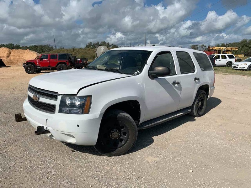 2010 Chevrolet Tahoe Police Vehicle, white, see video, broken windows, mileage 201,491,  (VIN:  1GNMCAE09AR157635)
