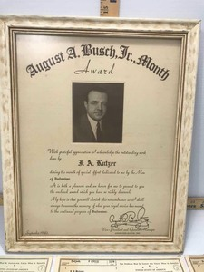 Antique: (3) Certificates of War Necessity 1942 and Framed Certificate: Busch to IA Kutzer