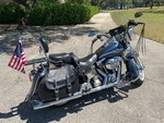 2003 Harley Davidson Heritage Springer FLSTS1 100th Anniversary Motorcycle, 1450cc Blue/Silver, Odometer reads 69,454 (VIN:  1HD1BYB103Y0515751)