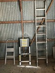 (3) Ladders: 2 foot step, telescoping, aluminum extension