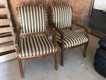 (2) Arm chairs (Wood frame, stripes)
