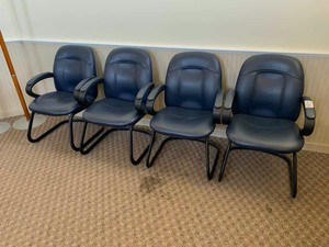 4 Navy blue office chairs