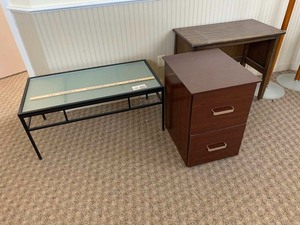 Coffee table, two drawer file cabinet, stand